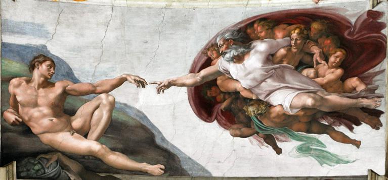 La Creazione di Adamo affrescata da Michelangelo nella Cappella Sistina nei Musei Vaticani a Roma