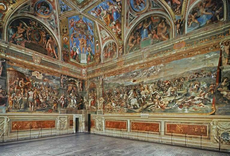 La Sala di Costantino affrescata da Raffaello nei Musei Vaticani