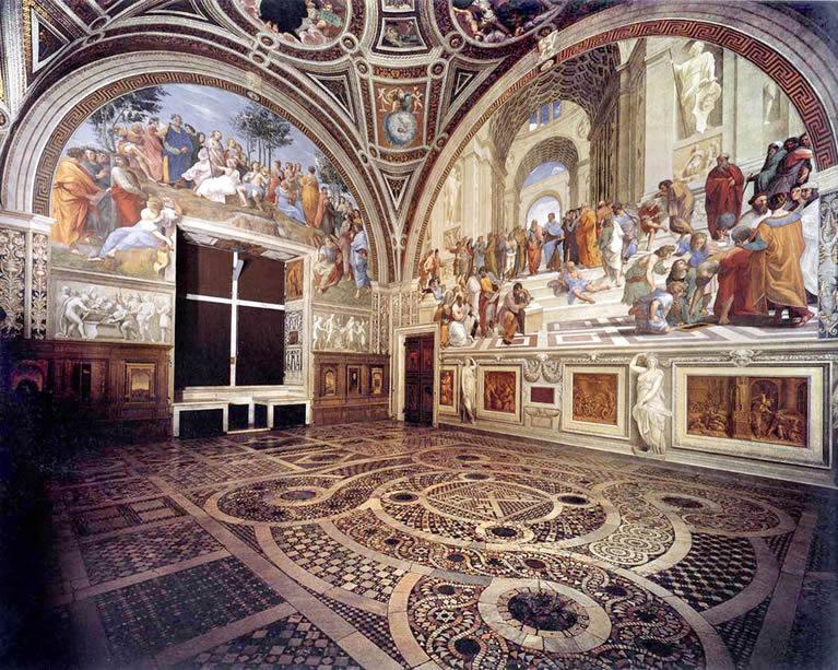 La stanza della segnatura affrescata da Raffaello nei Musei Vaticani